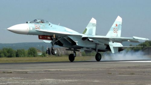 A Russian Air Force SU-27 fighter jet.