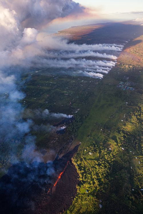 Fissure 17 has advanced over 1.5kms, destroying properties and blocking two major thoroughfares in the Hawaiian region of Pahoa. (EPA)