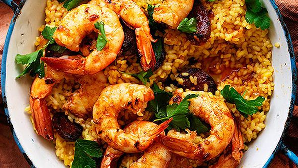 Australian prawn and chorizo paella
