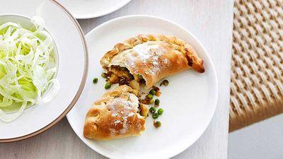 Caramelised onion, fennel and potato Cornish pies