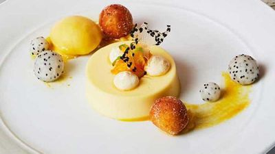 Catalina's autumn yuzu panna cotta, yuzu curd beignets with citrus sorbet