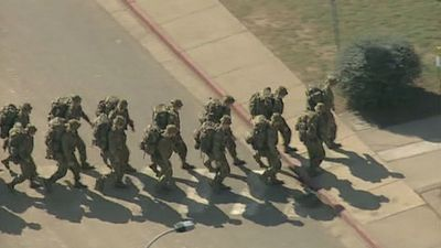 QUICK MARCH: Soldiers on the move inside Holsworthy Barracks, as the exercise got underway. (9NEWS)