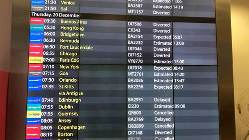 The arrivals board at Gatwick Airport showing cancelled, diverted and delayed flights as the airport remains closed.
