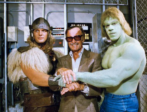 In this May 9, 1988, file photo, comics impresario Stan Lee, center, poses with Lou Ferrigno, right, and Eric Kramer who portray 'The Incredible Hulk' and Thor.