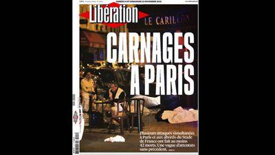 <p>French newspaper <em>Libération</em> ran 'Carnage in Paris'.</p>