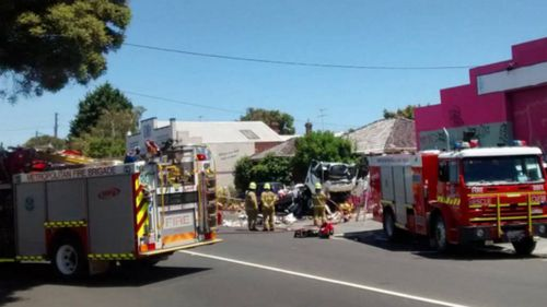 Emergency crews at the scene on Barkly Street in Footscray. (Instagram/@andytuna)