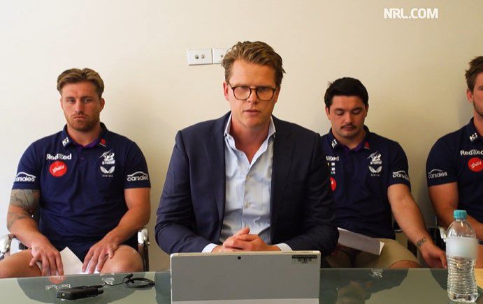 Melbourne CEO Justin Rodksi is flanked by Cameron Munster and Brandon Smith.