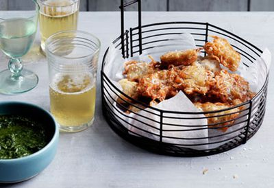 Baby whitebait fritters with rosemary and anchovy dipping sauce