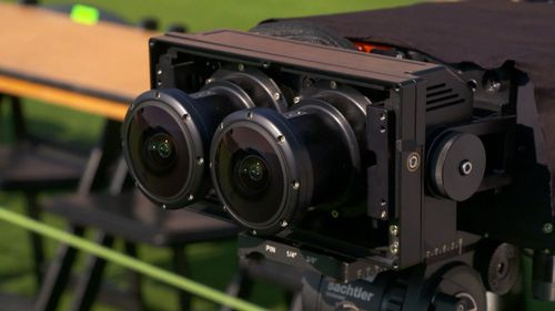 Specially built double lens cameras capture all the action.
