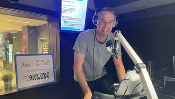 Paddy gets in some final endurance training at 6PR's studios in Perth.