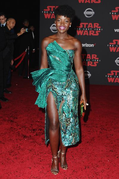 Lupita Nyong'o at the Los Angeles premiere of <em>The Last Jedi </em>on December 9, 2017