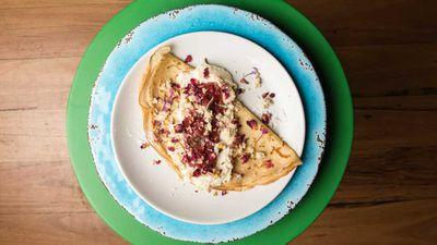 """<p>Recipe:&nbsp;<a href=""""http://kitchen.nine.com.au/2017/01/13/15/42/blue-cabooses-bella-fraise-crepe"""" target=""""_top"""" draggable=""""false"""">Blue Caboose's crepe</a></p>"""