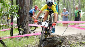 Rebecca McConnell of Australia during the Women's Cross Country Mountain Bike Final. (AAP)