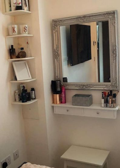 Tiny bedroom corner transformed into makeup station