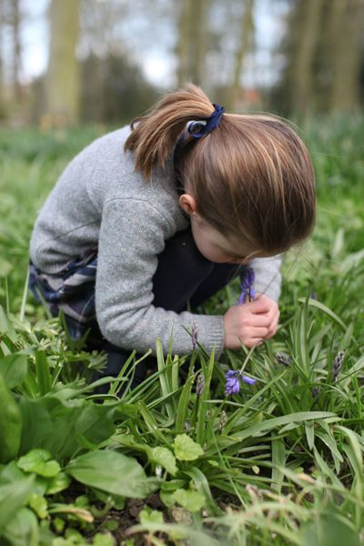 'Charlotte smelling a bluebell', February 2020