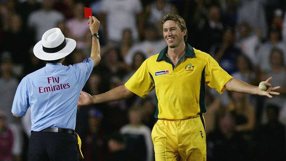 Billy Bowden red carded Glenn McGrath during the inaugural T20 international but it was a joke. (Getty)