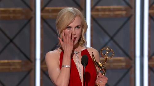 An emotional Nicole Kidman picks up her Emmy.