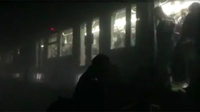 Commuters on trains at the time of the blasts were evacuated via a smoke-filled tunnel.