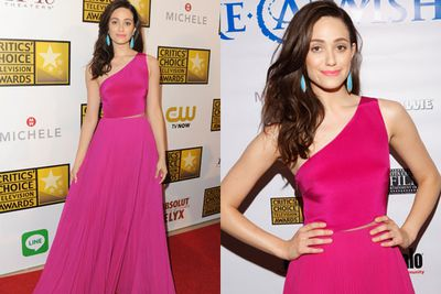 Say no to monochrome! Emmy Rossum proves that a pop of colour is always more fun than boring black.