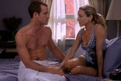 THEN: Justin Theroux made not one, but <I>two</I> cameos on <I>SATC</i> back in the day. <br/><br/>The first time he played Jared, Stanford's writer friend who flirts with Carrie at a bar opening. The second time, he's Vaughn, Carrie's boyfriend with problems in the boudoir. <br/><br/>Carrie was right - there just weren't enough men in NYC!