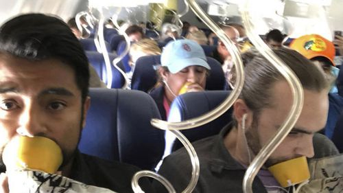 Passengers on the stricken plane in the US this week.
