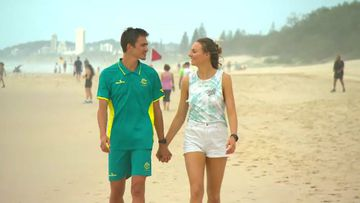 Brandon Starc with his girlfriend Laura Turner. (9NEWS)