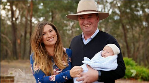 Barnaby Joyce and Vikki Campion have spoken about their life together and their new family. (Image: Seven Network)