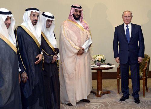 Salman meets with Russian president Vladimir Putin.