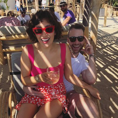 Zoë Foster Blake in Chosen the Label top and Bec and Bridge skirt, with husband Hamish Blake in Europe