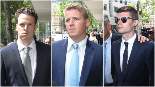 Brothers Dominic and Sam Walker (far left and centre), along with Ben Fitt, stand accused of bashing two older men.