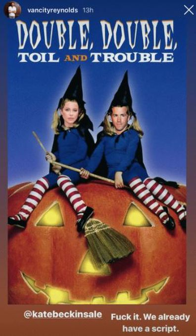 Ryan Reynolds, Kate Beckinsale, Olsen twins, movie poster, witches, Halloween, photoshop