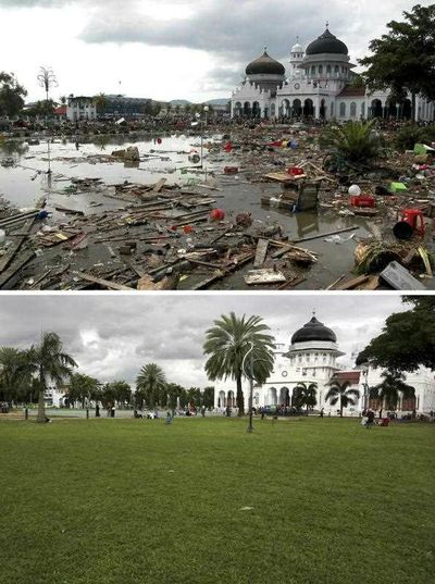 Damage in front of the Baitulrahman Mosque on 26 December 2004 (top), and a view of the same area on 16 December 2014 (bottom), in Banda Aceh, Indonesia. (EPA)