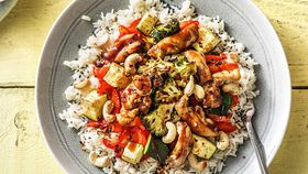 Hoisin chicken and vegetable tray bake