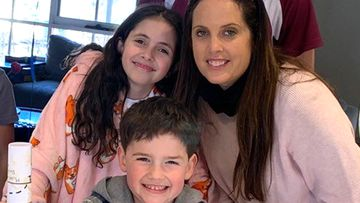 Julie Rosenbloom with two of her three kids, Kade and Anika.