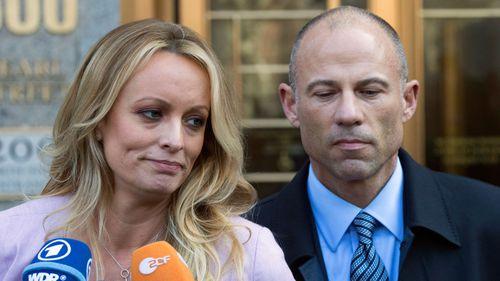 Daniels and her lawyer Michael Avenatti. Picture: AP