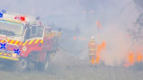 A fire yesterday threatened areas around Drake, Red Rock Road and Rover Park.