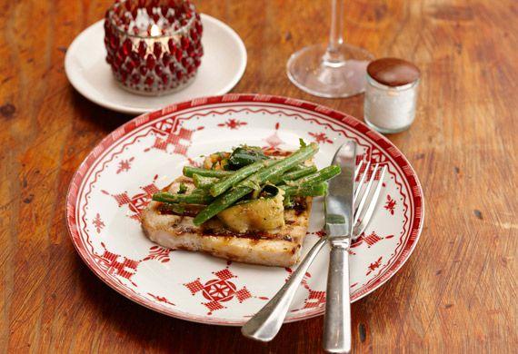 Chargrilled swordfish with zucchini-green bean salad and muhamara dressing