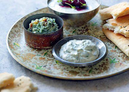 Borani-ye laboo (candied beetroot and yoghurt salad)