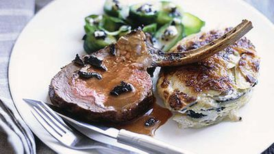 """Recipe:&nbsp;<a href=""""http://kitchen.nine.com.au/2016/05/17/15/02/rack-of-veal-with-truffle-gravy-truffled-scalloped-potatoes-and-brussels-sprouts"""" target=""""_top"""">Rack of veal with truffle gravy, truffled scalloped potatoes and Brussels sprouts</a>"""
