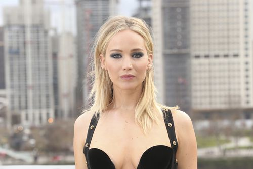 Ready for my close-up: J-Law showed all her usual poise despite the chilly conditions. Picture: AAP