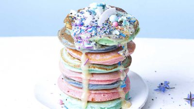 "Recipe: <a href=""http://kitchen.nine.com.au/2018/03/02/11/47/rainbow-pancakes-recipe"" target=""_top"" draggable=""false"">Rainbow pancake</a>"