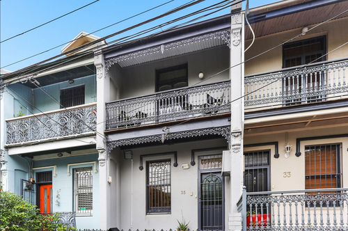 A property currently for sale on Wells Street, Newtown in Sydney's inner west. Property prices in the region have fallen by 10.5 percent on average since March last year. Picture: Domain