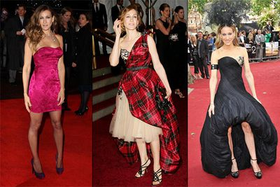 "For a woman who is regularly featured on ""best dressed"" lists around the world, Sarah Jessica Parker sure knows how to mess it up on the red carpet. When she's not squeezing into mini-dresses more suited to a 16 year old (left), she's wrapping herself in the family picnic blanket for a night out at the Met Gala (middle)."