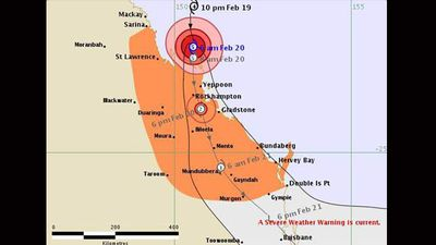 After Marcia hits, it is expected to lose intensity as the storm front moves south across the land as this map from Australia's Bureau of Meteorology.