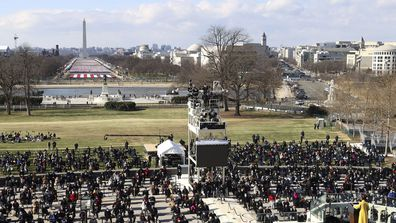 National youth poet laureate Amanda Gorman speaks during at the inauguration of U.S. President Joe Biden on the West Front of the U.S. Capitol on Wednesday, Jan. 20, 2021 in Washington.