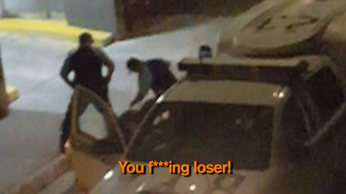 The footage appears to show police yelling at the teenager.