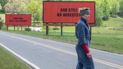 Frances McDormand in Three Billboards is in contention for Lead Actress. (AAP)