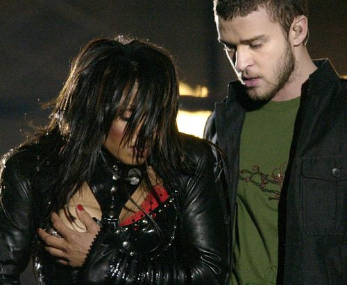 Janet Jackson suffered a wardrobe malfunction while performing with Justin Timberlake in 2004. (AAP)