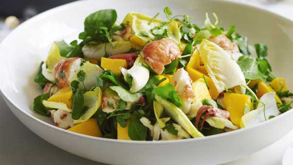 Guillaume Brahimi's marron with a salad of mango, endive and fresh herbs