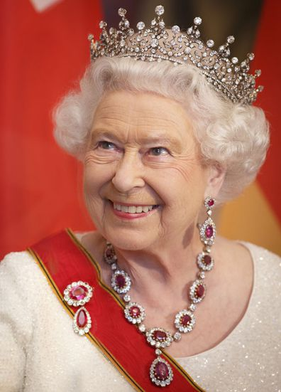 Queen Elizabeth II attends a State Banquet on day 2 of a four day State Visit on June 24, 2015 in Berlin, Germany